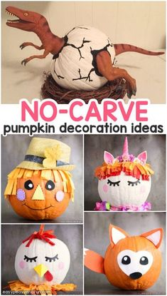 Amazing Pumpkin Painting Ideas & Other No Carve Pumpkin Decorating Ideas - Fall Costume Party - Halloween Halloween Tags, Masque Halloween, Halloween Crafts For Kids, Diy Halloween Decorations, Pumpkin For Halloween, Happy Halloween, Dinosaur Halloween, Halloween Prop, Halloween Witches