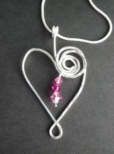 Silver and Pink Heart Pendant by silversunstudiobiz on Etsy, $40.00