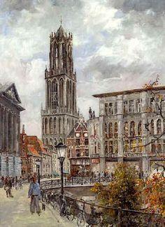 Oude Gracht bij gemeentehuis. Giclée  bij Kunsthandel Schoonheim aan de Vinkenburg in Utrecht