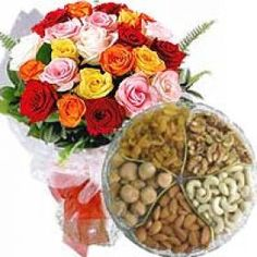 Flowers, The Most Beautiful Way Of Expressing Love & Dryfruits, The Way of Expressing Your Care. Send This Combo To Show Them To Your Beloved Ones. Send This Through Shop2VIZAG.