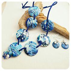 Blue mokume gane  Handmade polymerclay necklace