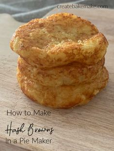 This easy Hash Brown Recipe requires just a few ingredients and couldn't be easier to make! You can cook these in both a Pie Maker or an Oven and both regular and Thermomix instructions included. Best Hash Brown Recipe, Hash Recipe, Hash Brown Recipes, Easy Hashbrown Recipes, Kitchen Recipes, Cooking Recipes, Fun Cooking, Mini Pie Recipes, Roast Dinner