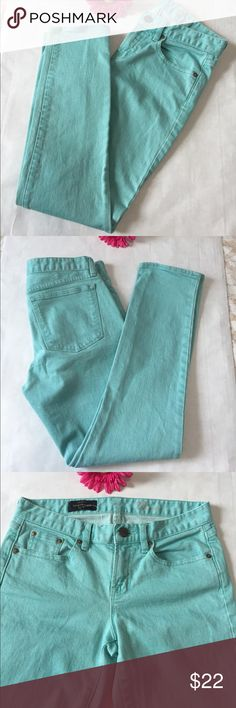 "NWOT! J. Crew Toothpick Ankle Jeans J. Crew Toothpick Ankle Jeans are made with premium cotton then garment dyed. This one is Mint Green positioning this perfectly imperfect summer color. 28"" inseam. 8"" rise. 9.3/4"" leg opening. 5 pockets style. Belt loop. Perfect like new condition having been bought, cleaned, but never worn.  Your gain! J. Crew Jeans Ankle & Cropped"