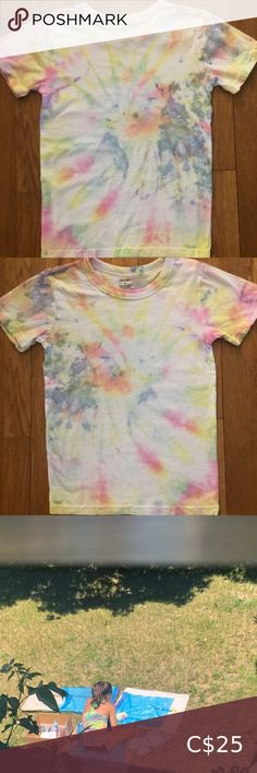 Girls tie dye shirt size small new My 9 year old ambitious daughter decided she wanted to open her own tie dye business and would like to give $5 for each piece sold to the food bank in her community.   Her name is Diana and she designs all her own clothing.   They are brand new and never been worn.  Help support little dreams!  Pre-washed and ready to wear! Shirts & Tops Tees - Short Sleeve I 9, Food Bank, Dye Shirt, 9 Year Olds, S Girls, Diana, Congratulations, Tie Dye, Kids Shop