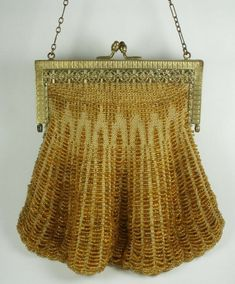 Smart Antique Silver Filigree Butterfly Frame Tan Crochet Blue Glass Bead Fringe Purse Clothing, Shoes & Accessories