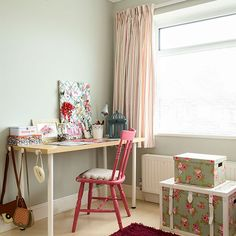 Pale green girl's bedroom with desk | Children's room decorating | Style at Home | Housetohome.co.uk