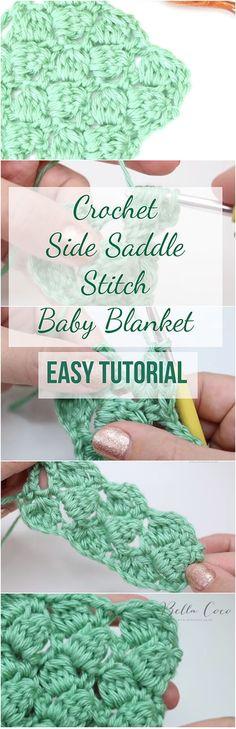 Crochet Side Saddle Stitch Baby Blanket Easy Tutorial