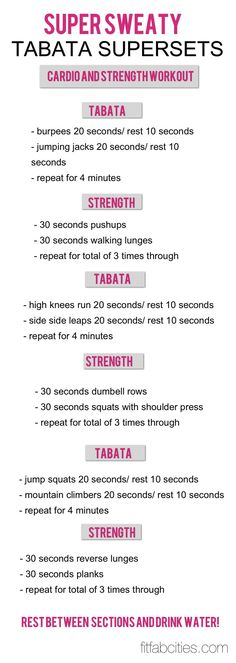 Cardio and Strength Workout: Super Sweaty Tabata sets. If you can't get to the gym or need something quick and effective this is perfect!
