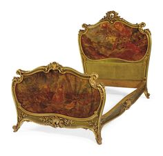 date unspecified A FRENCH GILTWOOD, GREEN-PAINTED AND VERNIS MARTIN BEDSTEAD BY ANTOINE KRIEGER, PARIS, LATE 19TH CENTURY Price realised USD 8,750