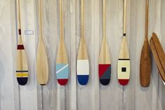 Painted Oars and Paddles from Guideboat in Mill Valley, CA