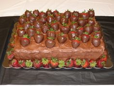 Chocolate on Chocolate Groom's Cake with Chocolate Dipped Strawberries