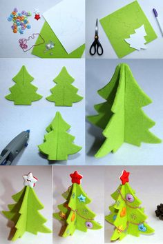 How to make a felt christmas tree with colorful buttons and jewelry beads