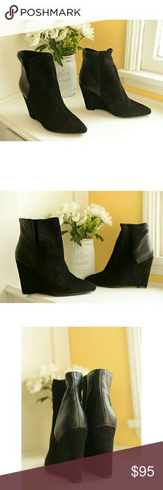 """Rebecca Minkoff Suede & Leather Wedge Booties A deeply notched shaft splits these slim booties into panels of velvety suede and leather for a refined take on colorblocking. The heel is 4"""". Brand new in box. Enjoy! Rebecca Minkoff Shoes Ankle Boots & Booties"""