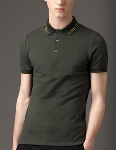 Striped Collar Polo Shirt from Picsity.com