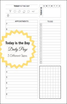 planner fun: Today is the Day - A Daily Docket [free printable]