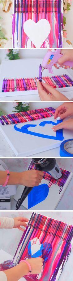 Melted Crayon Art | 23 DIY Valentines Crafts for Boyfriend | DIY Birthday Gifts for Him