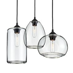 Also in blue and non mixed sets of 3  Room & Board - Sky Mixed Pendants Clear - Set of Three