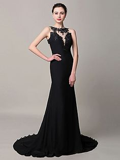 2017 Formal Evening Dress Trumpet / Mermaid Jewel Court Train Chiffon with Appliques
