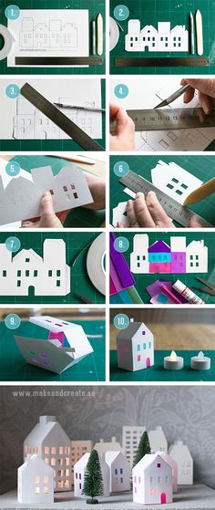 Tea light paper houses (free template) diy rhs (for diy putz houses) Diy Paper, Paper Art, Paper Crafts, Origami Paper, Holiday Crafts, Christmas Crafts, Christmas Decorations, Xmas, Christmas Houses