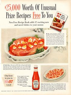 Heinz Ketchup Unusual Prize Recipes. Main course: Toledo Ham, covered in ketchup and hard-boiled egg slices. Dessert: Spicy Pear Compote, starring The Dream Team of ketchup and canned pear halves.