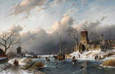 Charles Leickert  ~ A Winter Scene ~ Belgian Painter 1816-1907 ~Dutch Landscape ~Художник