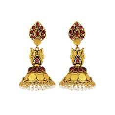 Traditional Gold Plated Temple Stone Red Colored jumkas