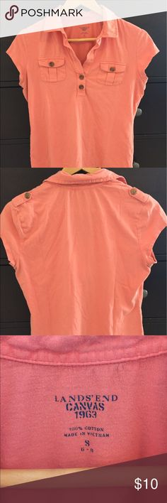 """Lands End Canvas Military-Style Shirt Dusty/orangey pink cotton military-style Lands End Canvas shirt with button details. I am 5'3"""" and the shirt hits at hip level. Comfy and cute! Size Small says 6-8 on the label, but is closer to a 4. Lands' End Tops Tees - Short Sleeve"""