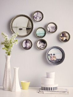 Tart pans for image frames in a kitchen or breakfast area.