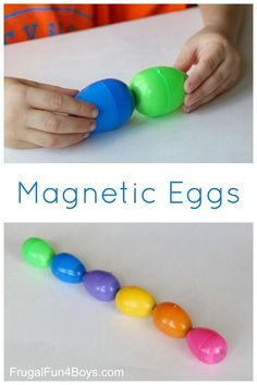 What a fun homemade toy - magnetic eggs! The ends attract or repel each other.