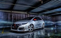 Download wallpapers Honda Civic Type R, 2017, hatchback, silver Civic, tuning Civic, Japanese cars, Honda for desktop free. Pictures for desktop free