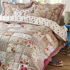 PiP Studio Chinese Blossom Patch 220x265cm Quilted Bedspread, Khaki