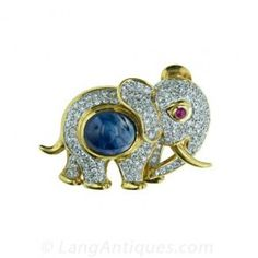 Gem-Set Elephant Pin - Antique & Vintage Pins and Brooches - Shop for Jewelry