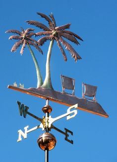 Palm Tree Weathervane - with Chairs - West Coast Weathervanes