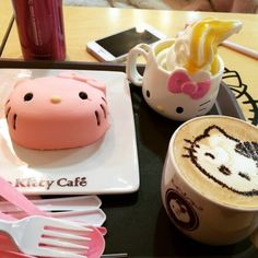 """12 Totally Instagram-Worthy Desserts in Korea - """"Okay, let's be honest. You don't visit Hello Kitty Cafe because it has excellent food and drink. You visit because it's the only place where you can get food and drink with Hello Kitty's adorable mug all over it, and because the cafe's decor is so insanely pink and cute. There are three Seoul locations, all in tourist-friendly neighborhoods – the Hongdae location is the most famous."""""""