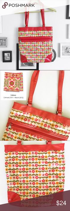 Vera Bradley Frill Bag Vera Bradley bag with flowers. This is not quilted it has a glossy finish to it so it can't stain. This pattern is retired and it's called folkloric.   ⭐️10% off 2+ bundle ⭐️Size Medium Bag ⭐️Smoke Free Home  ⭐️No stains or flaws Vera Bradley Bags Shoulder Bags