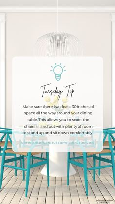 TUESDAY TIP: Seating 🪑 Measure out 30 inches of space all the way around your dining table. With at least 30 inches, you will be able to get in and out of the chairs comfortably. Like and follow for more tips! #TuesdayTip #Furniture #Wood #DIY #UnfinishedFurnitureofWilmington Unfinished Furniture, Tuesday, Web Design, Chairs, Dining Table, Space, Wood, Tips, Kitchen