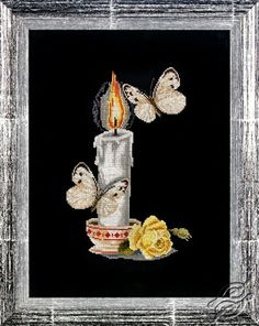 Candle With Butterflies - Cross Stitch Kits by Alisena - 1086