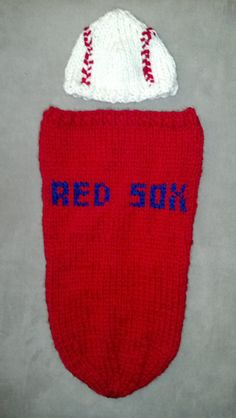 ADORABLE: Red Sox Cocoon for Baby by RachaelsKnits on Etsy, $40.00