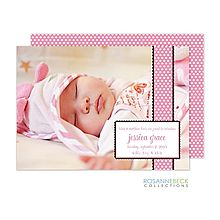 Polka Dot Pink Birth Announcement Photo Card