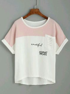 5c0f4b17d0 White Contrast Yoke Ripped Pocket T-shirt — € --------------color  White  size  one-size