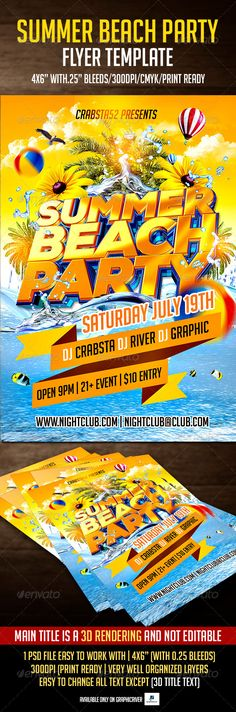 All White Party Flyer Template Party flyer, Flyer template and - summer flyer template