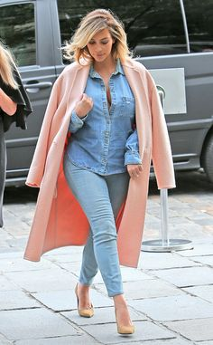 Kardashian reached for Paige Denim's Eden Deconstructed shirt and classic skinny jeans for a lunch date in Paris.