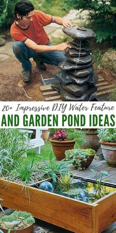 20+ Impressive DIY Water Feature And Garden Pond Ideas - There is something awesome about having a water feature in any sized garden. I love this sound water makes and because this collection is so vast, I think you will find the perfect one for you. #garden #diy #pond