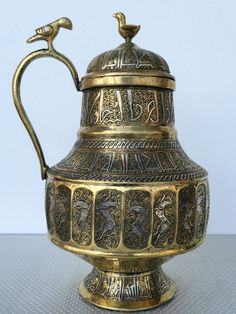 Stunning Islamic Khorasan Sided Ewer Silver Inlay Persian Animals Kufic Arabic