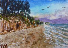 Santa Barbara Beach ACEO Card Original Watercolor Painting   #Realism