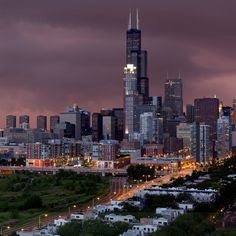 Great shot of Chicago Skyline from The South