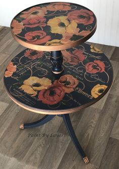 Vintage two-tier table, round accent table, painted artwork table, side table, flower stand, artistic end table, bedside table My Furniture, Recycled Furniture, Furniture Making, Furniture Makeover, Vintage Furniture, Painted Furniture, Round Nightstand, Bedside, White Wood Dresser