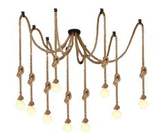 Lampa Pajak Sznur Jutowy Vintage Loft Do 8 Ramion 7043522840 Oficjalne Archiwum Allegro Ceiling Lights Chandelier Decor