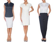 Business casual look  - Navy blue chinois pants, white sleeveless shirt and black flats - White simple dress and classic beige pumps - White pencil skirt which perfectly flatters curves and navy blue sleeveless shirt