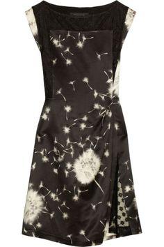 Thakoon|Dandelion-print wool-blend satin dress|NET-A-PORTER.COM
